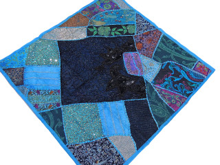 Square Wall Tapestry - Beaded Sari Patchwork Blue Home Accent 40 inch