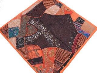 Traditional Indian Tapestry - Orange Patchwork 40 inch Wall Hanging