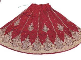 Fashion Skirt - Bollywood Style Burgundy Full Length Indian Dress
