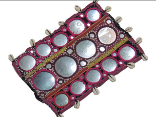 Indian Mirror Textile - Cotton Cowrie Shell Work Banjara Vintage Patch 9 inch