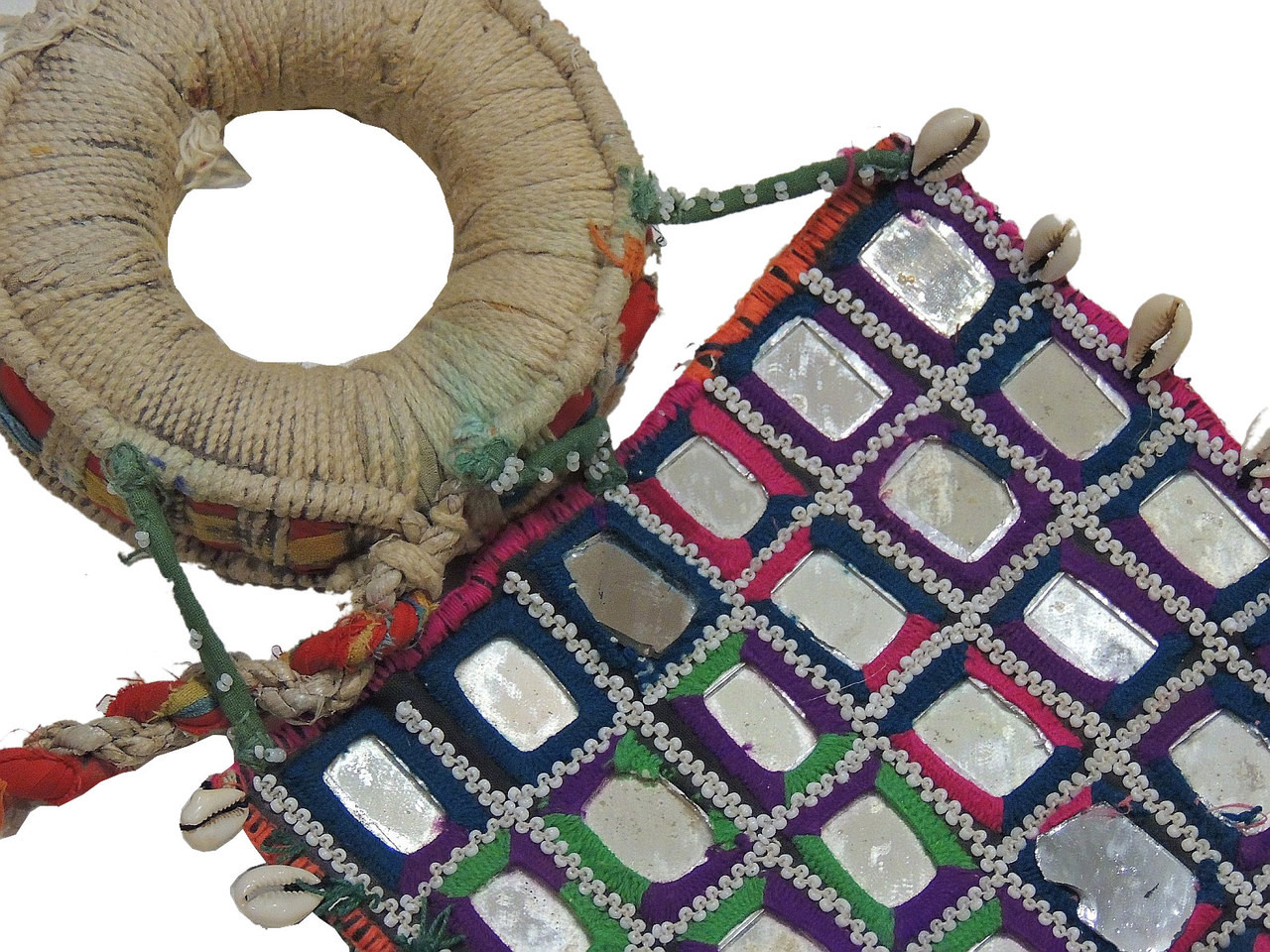 India banjara textile cowrie shell and mirror work big for Mirror 18 patch