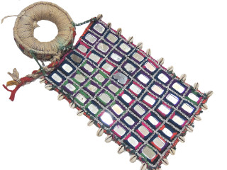 India Banjara Textile - Cowrie Shell and Mirror Work Big 13 inch Patch