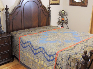 Decorative Bed Coverlet - Chashmah Floral Luxury Wool Blend Queen Bedding