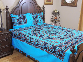 Blue Indian Bedspread and Pillow Shams - Elephant Mandala Print Cotton Fabric
