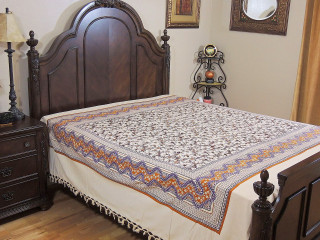 Cotton Floral Bedspread - Cream Cotton Print Indian Style Woven Sheet