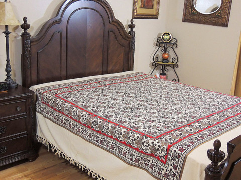 Quality Cotton Sheet - Cream Floral Print Elegant Indian Bedspread
