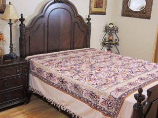 Beautiful Bedspread - Large Floral Print Woven Ivory Cotton Bedding