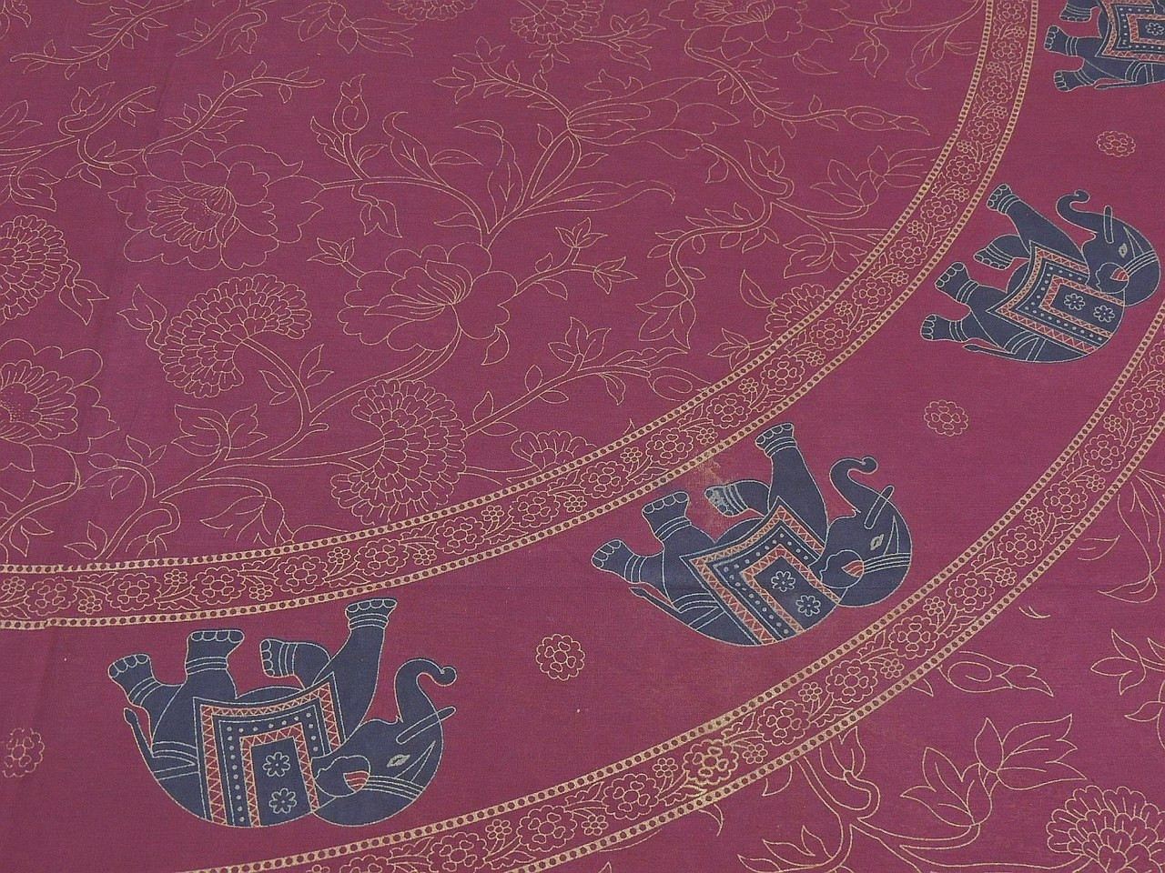 unique printed sheets maroon with gold full size cotton elephant