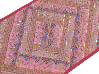 Pink Wall Tapestry - Ornate Sequin Ethnic Decoration for Living Room