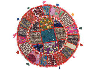 """Round Living Room Pillow - Embellished Patchwork Large Cushion Cover 24"""""""