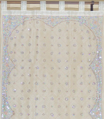 Decorative Sheer Curtains - Ivory Beaded Zardozi Window Panel 92""