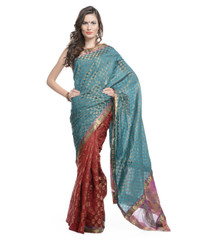 Designer Saree - Teal and Maroon Brocade Art Silk Partywear with Blouse