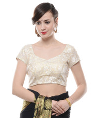 Designer Saree Blouse - Ivory Gold Brocade Bollywood Padded Choli Top 36""