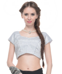 Trendy Blouse - Shimmering Silver Lurex Fabric Ladies Fashion Padded Top 36""