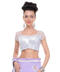 White Sequin Blouse - Short Sleeve Shimmering Evening Fashion Choli Top 38""