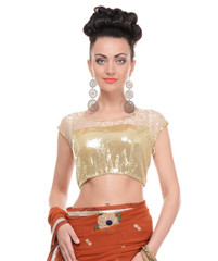Gold Blouse for Women - Sequin Net Short Sleeve Pretty Evening Padded Top 36""
