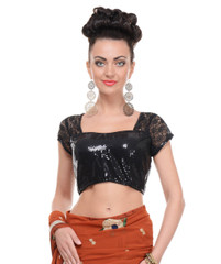 Black Fashion Blouse - Women Short Sleeve Sequin Latest Saree Dress Top 38""