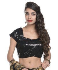 Ready to Wear Saree Blouse - Black Sequin Latest Designer Dress Top 38""