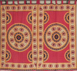 Bedroom Window Curtains - Orange Red Mandala Floral 2 Cotton Panels 78 inch
