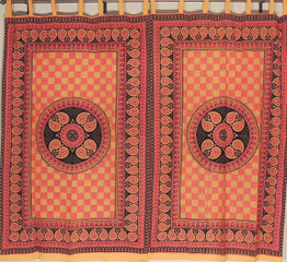 Beautiful Indian Curtains - Orange and Red Paisley Print 2 Cotton Window Panels 78""