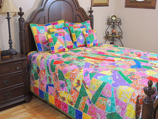 India Inspired Decor Bedding Embroidered Luxury Designer Trendy Duvet Bedspread
