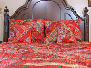 Indian Embroidered Duvet Cover Set 7P Sari Bedding Luxury Ethnic Collection Gift