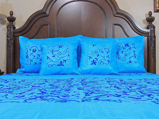 Beautiful Embroidery Bedding Ensemble 5P Chic Indian Decor Luxury Collection