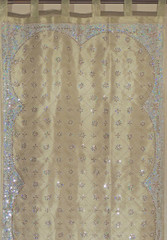 """Beige Gold Curtains - Sheer Embroidered Beaded Window Treatments Panel 92"""""""
