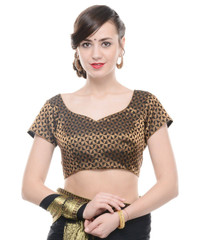 Readymade Saree Blouse - Black Brocade Gold Weave Bollywood Choli Top 38""