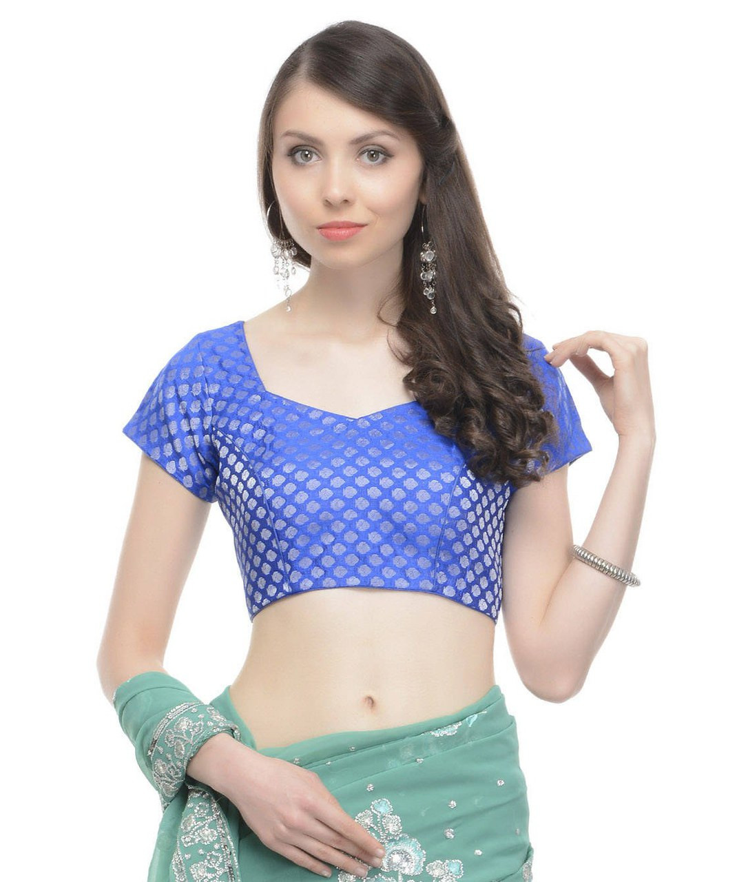 Blue Brocade Blouse - Ladies Saree Dress Party Wear Indian Choli ...