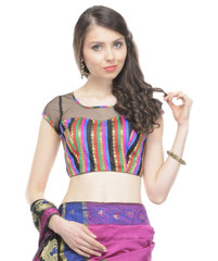 Evening Wear Blouse - Bohemian Brocade and Black Net Fashion Top Choli 38""