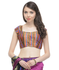 Women's Dress Blouse - Multicolor Gold Brocade Saree Top Fashion Choli 34""