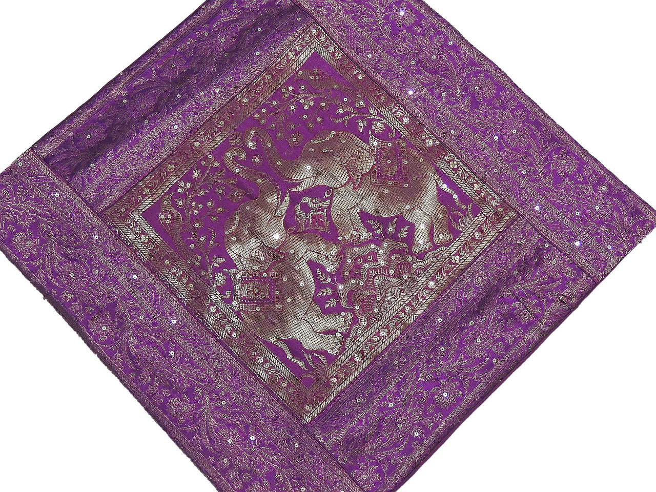 Sequin Elephant Throw Pillow : Decorative Throw Pillow Cover - Purple Elephant Zari Sari Sequin Cushion 16