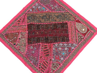 """Contemporary Pink 16"""" Throw Pillow Cover for Couch - Detailed Wood Bead Work"""