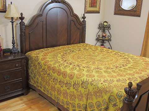 Unique Embroidered Rajasthan Bedspread Cotton Tapestry Mandala Elephant Patterns