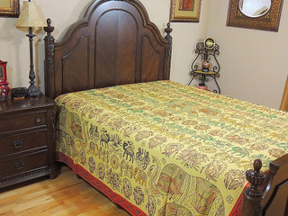 Artisan Embroidered India Bedding Cotton Designer Handcrafted Bedspread Tapestry