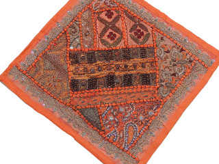 Orange Pillow - Unique Wood Beaded Ethnic Decorative Accent Cushion Cover 16""