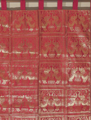 Elephant Curtain - Red Brocade Traditional Indian Living Room Panel 84""