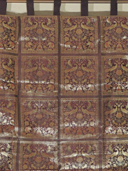 Brown Brocade Elephant Peacock Curtain - Elegant Indian Window Panel 84""