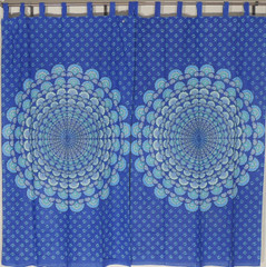 "Blue Peacock Tail Fan Curtains - 2 Block Print 82"" Long Living Room Window Panels"