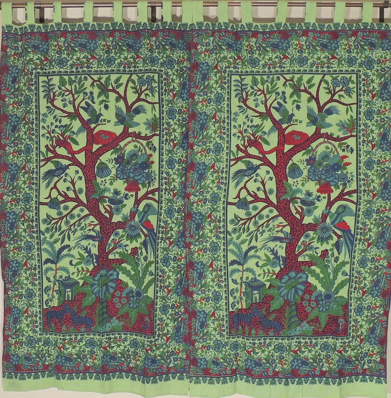 Green indian curtains - Indian Inspired Curtains 2 Green Exotic Tree Of Life Cotton Window Treatments 82