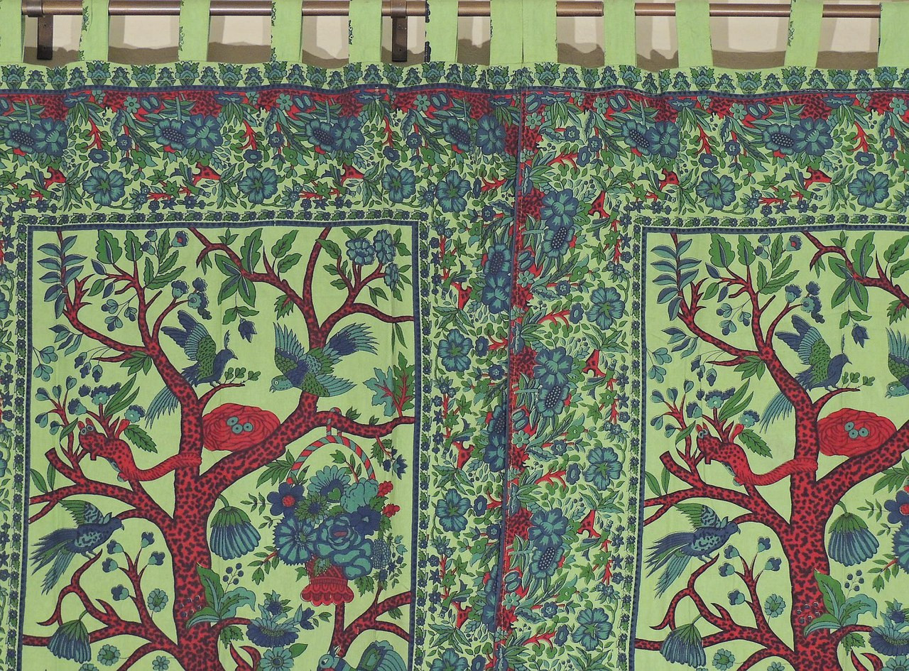 Green indian curtains - Indian Inspired Curtains 2 Green Exotic Tree Of Life Cotton Window Treatments 82 Image 2