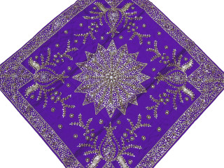 Purple Decorative Table Overlay - Beaded Wedding Tablecloth 40""
