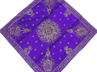 """Purple Coffee Table Topper - Gold Beaded Chic Square Tablecloth 40"""""""