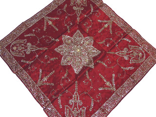 """Burgundy Fine Table Linens - Gold Beaded Floral Square Overlay 40"""""""