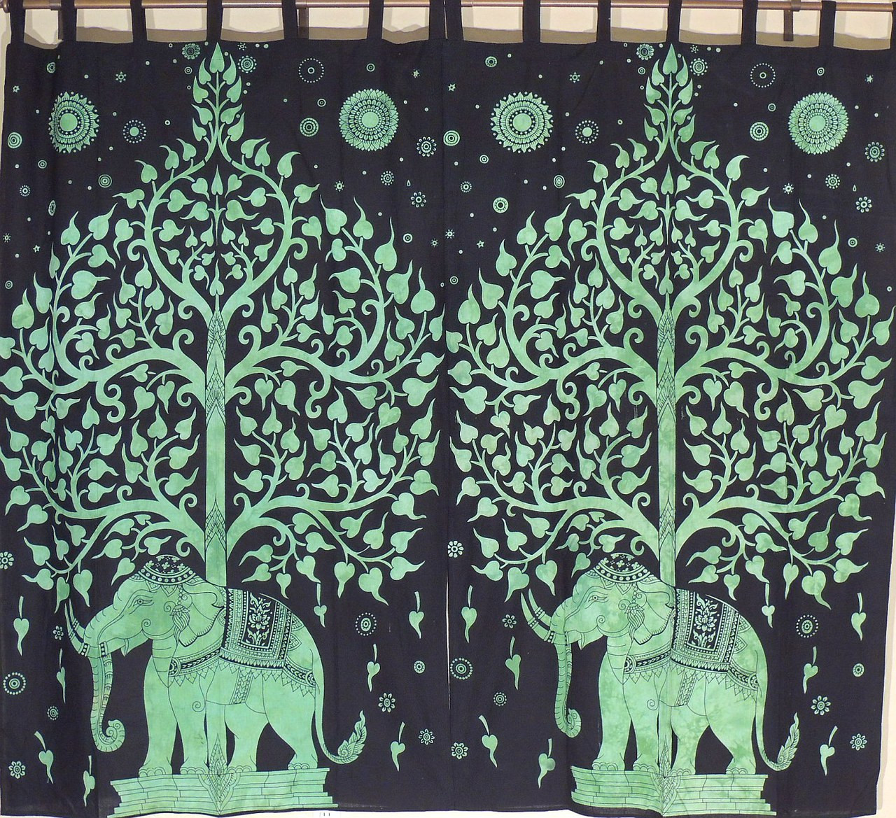 Green indian curtains - Green Bay Window Curtains 2 Tree Of Life Elephant Indian Cotton Panels 78