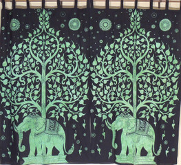 """Green Bay Window Curtains - 2 Tree of Life Elephant Indian Cotton Panels 78"""""""