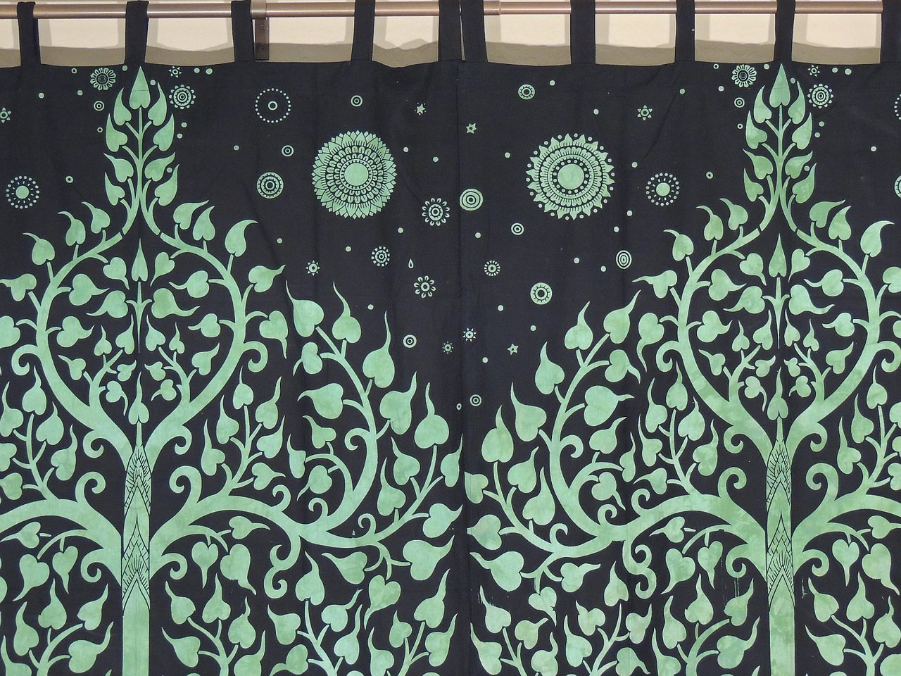 Green indian curtains - Green Bay Window Curtains 2 Tree Of Life Elephant Indian Cotton Panels 78 Image 2