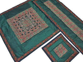 Embroidered Dining Table Linens Set - Green Handmade Tablecloth Runner Placemats