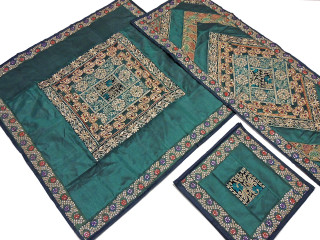 Decorative Table Linens Set - Green Fine Embroidery Designer Overlay Runner Placemats